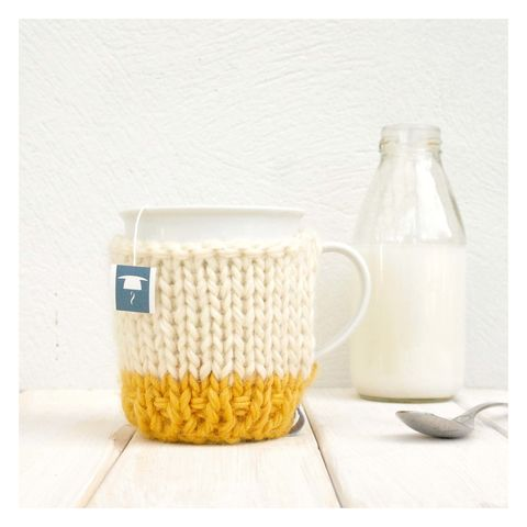Colour,Block,Mug,Cosy,And,-,Mustard,Mug Cosy, Colour Block Mug Cosy, Tea, Mug and Knitted Cosy - Yellow and Cream Mug Cosy - Chunky Knit Cosy - Birthday Gift - Favourite Mug - Graduation Gift - Get Well Soon Gift