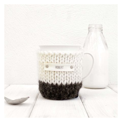 Personalised,Colour,Block,Cosy,And,Mug,-,Charcoal,Grey,Personalised Mug Cosy, Knitted, Made in Britain, Mug and Knitted Cosy - Charcoal Grey Mug Cozy - Black and White Tea Cosy - Personalised Gift - Cup Cosy - Drink Warmer - Graduation Gift