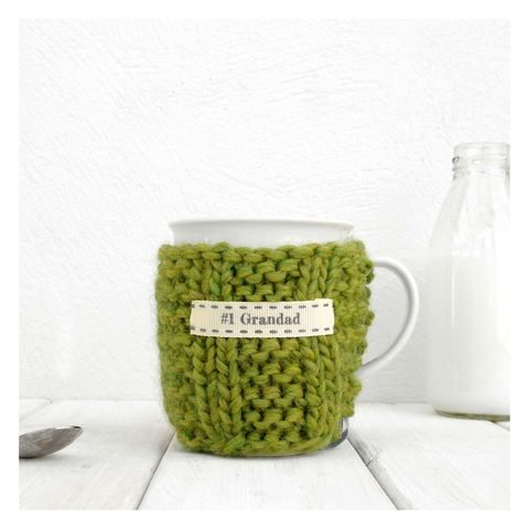 Personalised,Knitted,Mug,Cosy,-,Olive,Green,Personalised Mug Cosy, Knitted, Made in Britain,