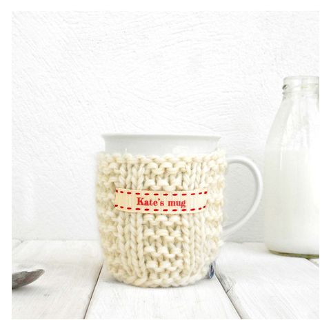 Personalised,Knitted,Mug,Cosy,-,Cream,Personalised Mug Cosy, Knitted, Made in Britain, Knitted Mug Cosy and Mug - Cream Chunky Knit Mug Cosy - China Mug - Personalised Gift for Grandparents - Tea Gift - Coffee Cosy - Tea Lover