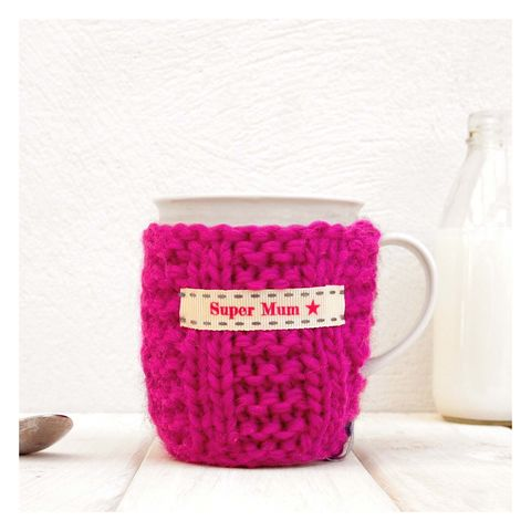 Personalised,Knitted,Mug,Cosy,-,Fuchsia,Pink,Personalised Mug Cosy, Knitted, Made in Britain, Knitted Mug Cosy and Mug - Pink Mug Cozy - Personalised Gift for Mum - Birthday Gift for Her - Gifts for Grandparent - Tea Warmer - Tea Gift