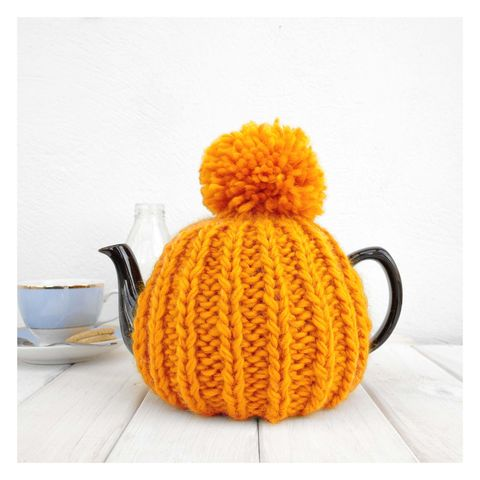 6,Cup,Tea,Cosy,-,Mustard,Yellow,Tea Cosy, Knitted, Handmade, Made in Britain, Tea Pot Cosy - 6 Cup Hand Knitted Retro Tea Cozy - Pom Pom Tea Cosy - Teal Tea Cosy - Blue Tea Cozy - Teapot Cosy - Wool Tea Cozy
