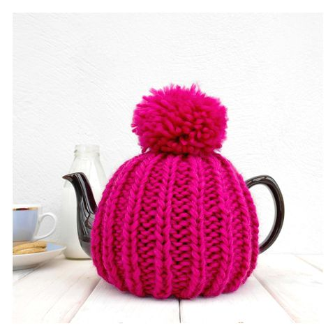 6,Cup,Tea,Cosy,-,Fuchsia,Pink,Tea Cosy, Knitted, Handmade, Made in Britain, Tea Pot Cosy - 6 Cup Hand Knitted Retro Tea Cozy - Pom Pom Tea Cosy - Teal Tea Cosy - Blue Tea Cozy - Teapot Cosy - Wool Tea Cozy