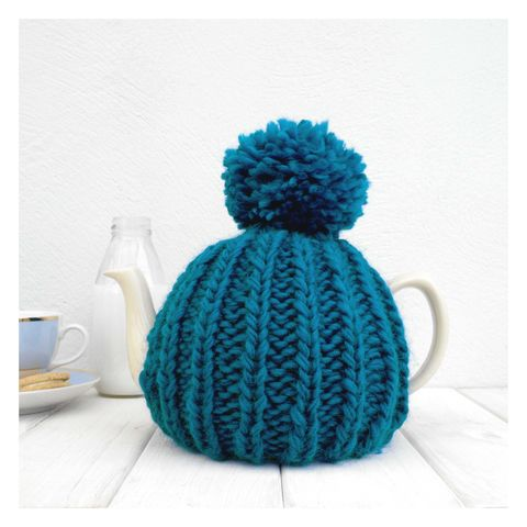 6,Cup,Tea,Cosy,-,Petrol,Blue,Tea Cosy, Knitted, Handmade, Made in Britain, Tea Pot Cosy - 6 Cup Hand Knitted Retro Tea Cozy - Pom Pom Tea Cosy - Teal Tea Cosy - Blue Tea Cozy - Teapot Cosy - Wool Tea Cozy