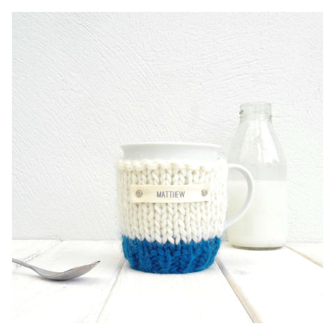 Personalised,Colour,Block,Mug,Cosy,And,-,Petrol,Blue,Mug Cosy, Colour Block Mug Cosy, Tea, Mug Cosy and Mug - Personalised Colour Block Mug Cosy - Blue and Cream Tea Cosy - Tea Gift for Him - Boy Gifts - Modern Gifts - Home Gifts