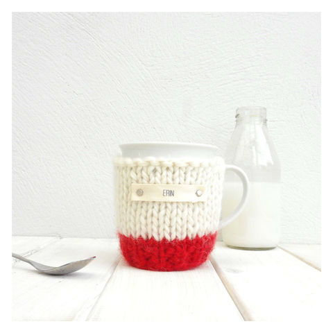 Personalised,Colour,Block,Mug,Cosy,And,-,Red,Mug Cosy, Colour Block Mug Cosy, Tea, Mug and Knitted Cosy - Red and Cream Mug Cosy - Mug Cozy - Tea Cup Cosy - Coffee Cosy - Personalised Coffee Cosy - Coffee Addict Gift