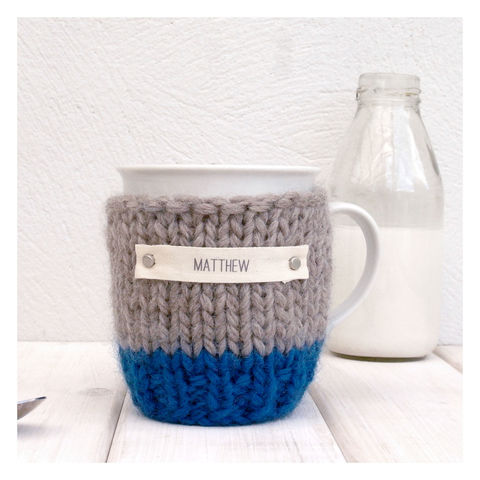 Personalised,Colour,Block,Mug,Cosy,And,-,Blue,&,Oatmeal,Mug Cosy, Colour Block Mug Cosy, Tea, Mug and Cosy - Chunky Knit Purple and Cream Mug Cozy - Personalised Knitted Mug Cosy - Hand Knitted Mug Cosy and Mug - Birthday Tea Gift