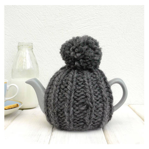 2,Cup,Hand,Knit,Tea,Cosy-Charcoal,Grey,Tea Cosy, Knitted, Handmade, Made in Britain, 2 Cup Tea Pot Cosy - Charcoal Grey Tea Cosy - COSY ONLY - Wool Tea Cozy - Afternoon Tea - Breakfast in Bed - Tea for One - Tea Lover Gift