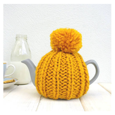 2,Cup,Hand,Knit,Tea,Cosy-,Mustard,Tea Cosy, Knitted, Handmade, Made in Britain, Yellow 2 Cup Tea Cosy - 2 Cup Wool Tea Cozy - Afternoon Tea - Housewarming Gift - Tea for One - Gifts for the Home - Cosy Only