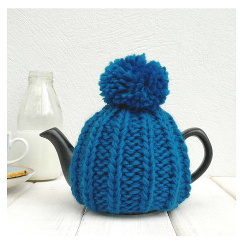 2,Cup,Hand,Knit,Tea,Cosy-,Petrol,Blue,Tea Cosy, Knitted, Handmade, Made in Britain, 2 Cup Tea Cosy - Blue Tea Cozy - Tea Pot Cosy - Pom Pom Tea Cosy - Teapot Cozy - Tea For One Gift - Tea Lover Gift - Tea Accessory