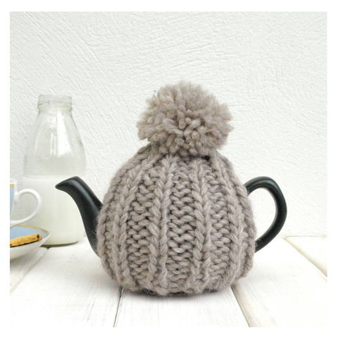 2,Cup,Hand,Knit,Tea,Cosy-,Oatmeal,Tea Cosy, Knitted, Handmade, Made in Britain, Tea Cosy for 2 Cup Teapot - Tea Pot Cosy - Natural Tea Cozy - Pom Pom Tea Cosy - Hand Knitted Tea Pot Cosy - New Home Gift - Tea Lover Gift