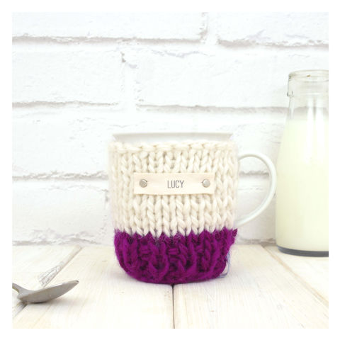 Personalised,Colour,Block,Mug,Cosy,And,-,Wine,Mug Cosy, Colour Block Mug Cosy, Tea, Mug and Cosy - Chunky Knit Purple and Cream Mug Cozy - Personalised Knitted Mug Cosy - Hand Knitted Mug Cosy and Mug - Birthday Tea Gift