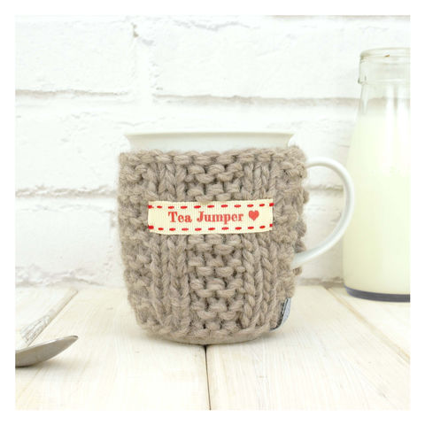 Personalised,Knitted,Mug,Cosy,-,Oatmeal,Personalised Mug Cosy, Knitted, Made in Britain, Mug and Cosy - Personalised Knitted Mug Cosy and Mug - Eco Friendly Mug Cozy - Wool Mug Cosy - Rustic - Tea Accessory - Tea Lover - Tea Gift