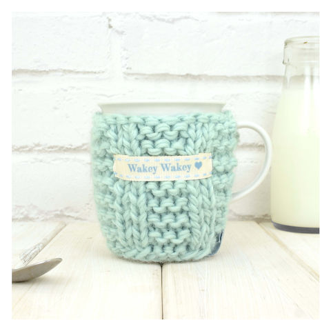 Personalised,Knitted,Mug,Cosy,-,Duck,Egg,Blue,Personalised Mug Cosy, Knitted, Made in Britain, Mug and Knitted Cosy - Duck Egg Blue Mug Cosy - White China Mug - Mint Green Mug Cozy - Housewarming Gift - Tea Accessory - Chunky Knit Cosy