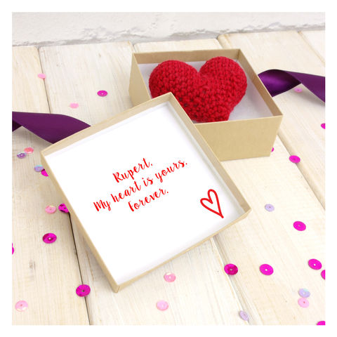 Eternal,Crochet,Love,Heart,With,Secret,Message,Box,Love Heart. Crochet. Handmade. UK, Crochet Love Heart With Secret Message Gift Box - Valentines Heart - Anniversary Gift - Birthday Gift - Eternal Love - Heart In A Box