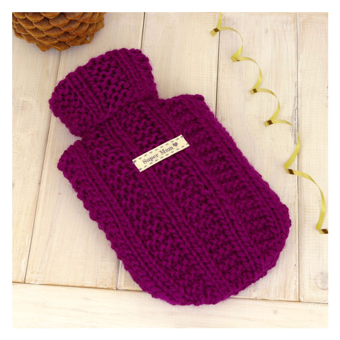 Personalised,Mini,Hot,Water,Bottle,And,Cover,-,Wine,Hot Water Bottle Cover, Hot Water Bottle, Small Hot Water Bottle, Children's Hot Water Bottle, Hot Water Bottle Cover - Wine Purple Hot Water Bottle and Cover - Chunky Wool Hot Water Bottle Cover - Gift for Grandma - Gift for Mum