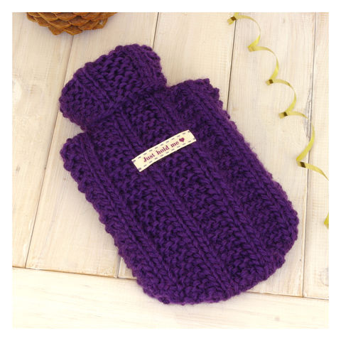 Personalised,Mini,Hot,Water,Bottle,And,Cover,-,Purple,Hot Water Bottle Cover, Hot Water Bottle, Small Hot Water Bottle, Children's Hot Water Bottle, Purple Mini Hot Water Bottle and Cover - Hand Knitted - 100% Wool - Gifts for Her - Warm