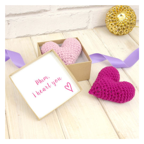 Personalised,Crochet,Heart,Mother's,Day,Keepsake,Love Heart. Crochet. Handmade. UK Crochet Love Heart With Secret Message Gift Box - Mothers Day Heart - Gift for Mum - Birthday Gift - Heart In A Box - I Love Mum - Mum Heart