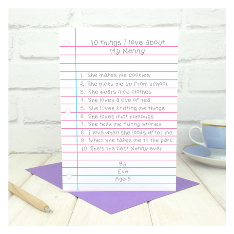 10,Things,I,Love,About,Nanny,Personalised,Card,Greetings Card. Mothers Day Card. Card. Personalised card Nanny Birthday Card - 10 Things I Love About Nanny Personalised Card - Custom Card - Your Words Here Card - Grandma Card - Grandmother Card
