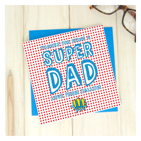 Personalised,Super,Dad,Fathers,Day,Card,Greetings Card. Fathers Day Card. Card. Personalised card Super Dad Card - Personalised Card - Super Hero Card - Marvel Card - Comic Book Card - Super Father - Fathers Day Card - Birthday Card