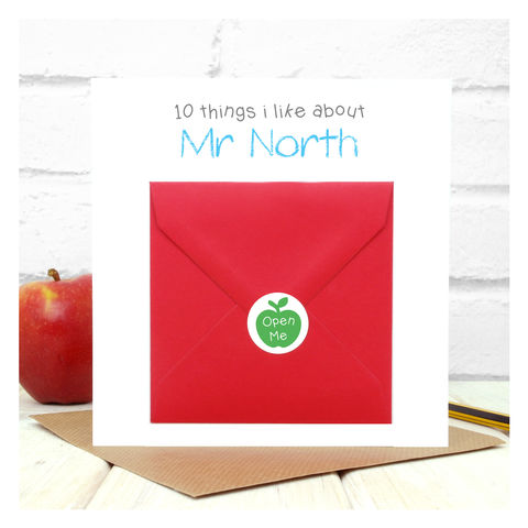 10,Things,I,Like,About,My,Teacher,Personalised,Card,Greetings Card. Personalised card, Thank you Teacher Card - 10 Things I Like About My Teacher - End of Term Card - End of School Card - Teacher Appreciation - Teacher Card