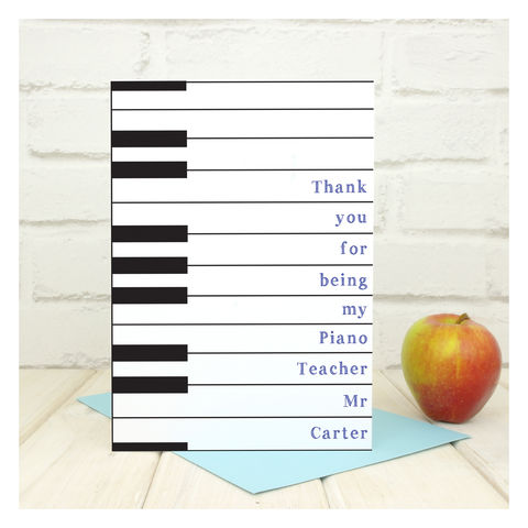 Personalised,Thank,You,Piano,Teacher,Card,Greetings Card. Personalised card. Teacher Card, Piano Teacher Card, Thank You Teacher, End of Term Card, Piano Lessons Card, Piano Grade Card, Music Teacher Card, Keyboard Teacher, Thank You Lessons, Lessons Card, Custom Card, Personalised Card, End of S