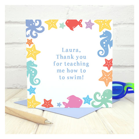 Thank,You,Swimming,Lessons,Personalised,Card,Thank You Swimming Lessons Personalised Card, Thank You Cards, Swimming Teacher, School Camp Card, End of Term Card, Custom Card, Personalised Card, Swim School, Swimming Teaching, Thank You Teacher, Nemo Card, Swimming Lessons, Nemo Swimming, How To Swim