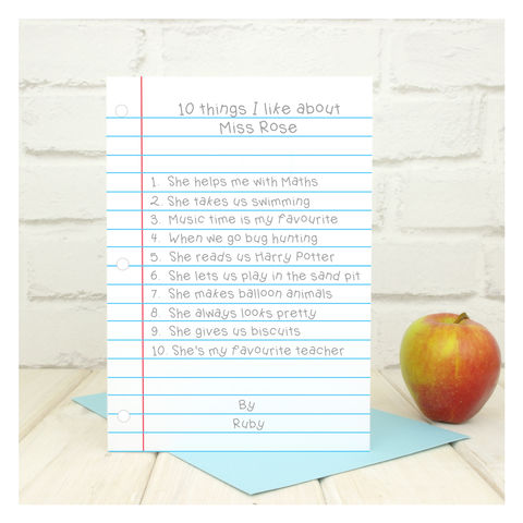 10,Things,I,Like,About…,Teacher,Personalised,Card,10 Things I Like About… Teacher Personalised Card