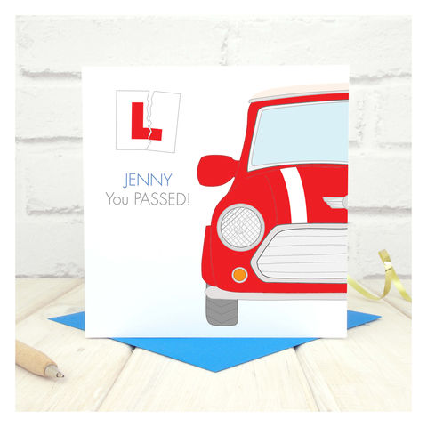 Congratulations,On,Passing,Your,Driving,Test,Card,Thank You For My Driving Lessons Personalised Card, Greeting Cards, Thank You Cards, driving test card, new driver card, driving lessons card, passed your test, theory test card, passed test card, Your words card, mini cooper card, custom card, personalis