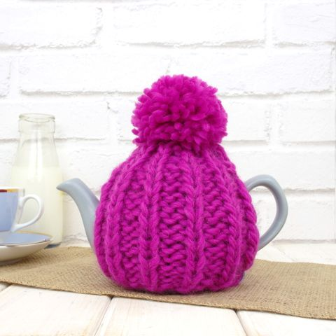 2,Cup,Hand,Knit,Tea,Cosy-,Fuchsia,Pink,Tea Cosy, Knitted, Handmade, Made in Britain, tea lover, tea accessory, hand knitted cosy, retro tea cosy, pom pom tea cosy, Cozies, 2 cup tea pot cover, tea for one, tea for mum, tea pot cosy, Tea pot cover, Mum Loves Tea, Gift for Mum, Mothers Day Gift