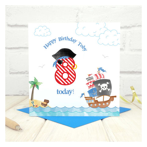 Personalised,Pirate,Birthday,Age,Card,Personalised Pirate Birthday Age Card, Pirate Theme, Pirate Themed Party, Pirate Party, Pirate Ship, Age Number Card, Age Birthday Card, Boys Birthday Card, 8th Birthday Card, 7th Birthday Card, 7th Birthday, Special Age Birthday Card, Number Card, Pirate