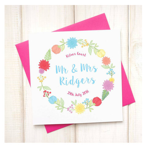 Personalised,Mr,And,Mrs,Floral,Wedding,Card,Personalised Mr And Mrs Floral Wedding Card, personalised wedding card, custom card, floral wedding card, floral card, your words here card, botanical card, mr and mrs card, Wedding & Engagement Cards, Wedding Cards, bride and groom card, new couple card