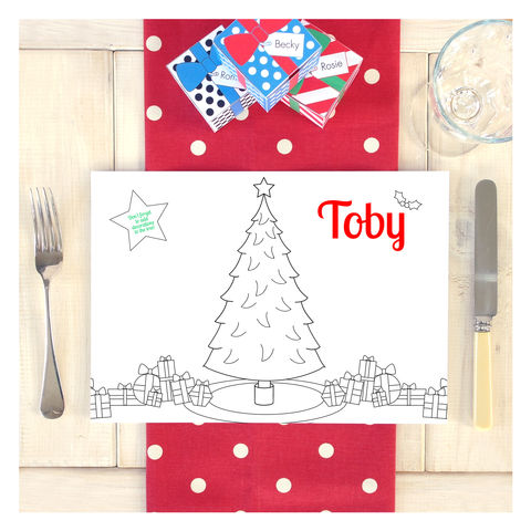 Personalised,Christmas,Activity,Colouring,Place,Mat,Personalised Christmas Activity Colouring Place Mat