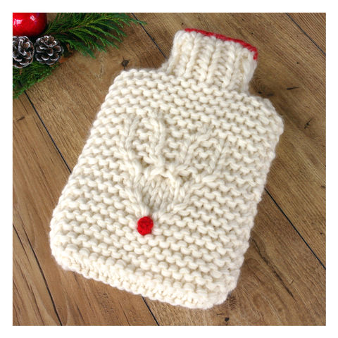 Hand,Knit,Reindeer,Hot,Water,Bottle,Hand Knit Reindeer Hot Water Bottle