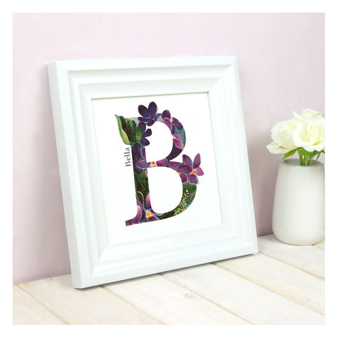 Personalised,Floral,Initial,Square,Print,Personalised Floral Initial Square Print