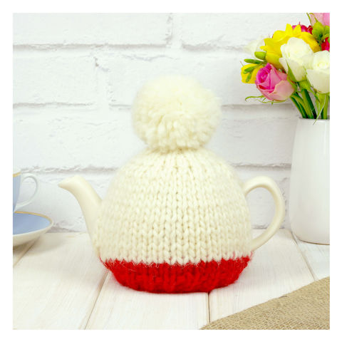 Personalised,Two,Cup,Colour,Block,Tea,Cosy,-,Red,Personalised Two Cup Colour Block Tea Cosy -Red - Red Tea Cosy - Red Tea Pot - Tea Pot - Tea Pot Cosy - Red and Cream - Tea Cosy