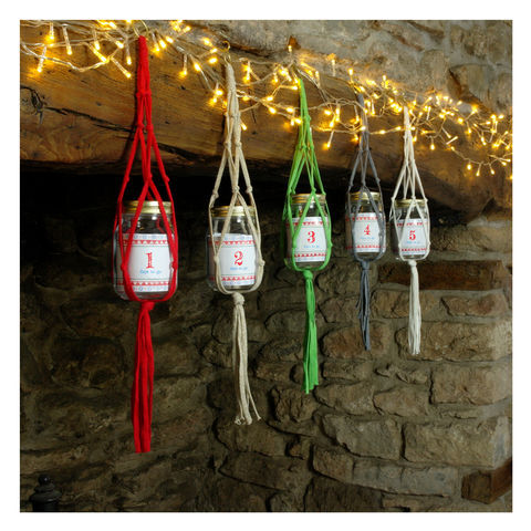 Macrame,Advent,Calendar,Jar,Macrame Advent Calendar Jar