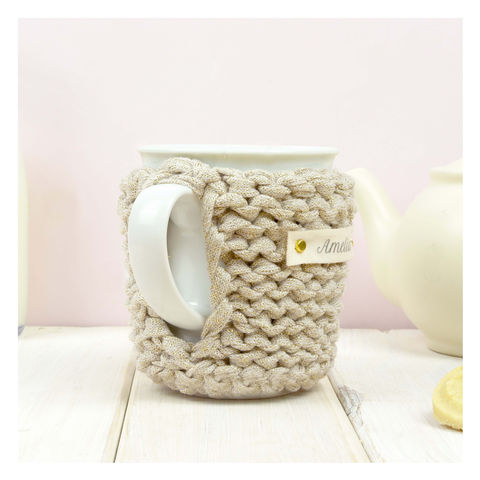 Personalised Knitted Mug Cosy - Gold  - product images  of