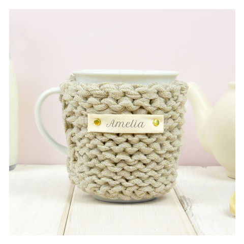 Personalised,Knitted,Mug,Cosy,-,Gold,Personalised Mug Cosy, Knitted, Made in Britain, Mug and Knitted Cosy - Gold Mug Cosy - White China Mug - Christmas Mug Cozy - Housewarming Gift - Tea Accessory - Chunky Knit Cosy