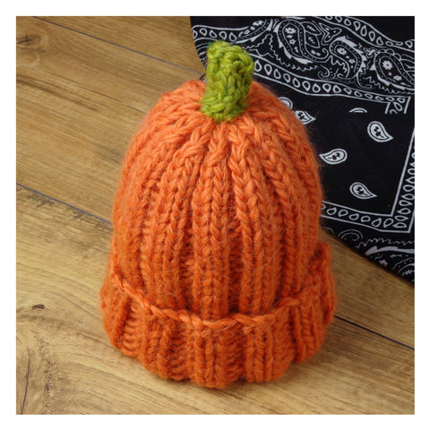 Pumpkin,Ribbed,Hat,For,Kids,And,Adults,Knitted Hat. Pumpkin- Halloween