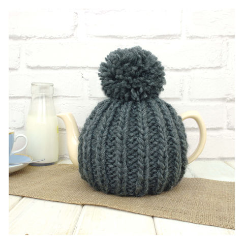 6,Cup,Tea,Cosy,-,Charcoal,Grey,Tea Cosy, Knitted, Handmade, Made in Britain, Tea Pot Cosy - 6 Cup Hand Knitted Retro Tea Cozy - Pom Pom Tea Cosy - Teal Tea Cosy - Blue Tea Cozy - Teapot Cosy - Wool Tea Cozy