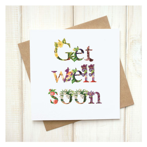 Personalised,Floral,Get,Well,Soon,Card,Personalised Floral Get Well Soon Card - Get Well Soon- Goodwill Card - Greetings Card