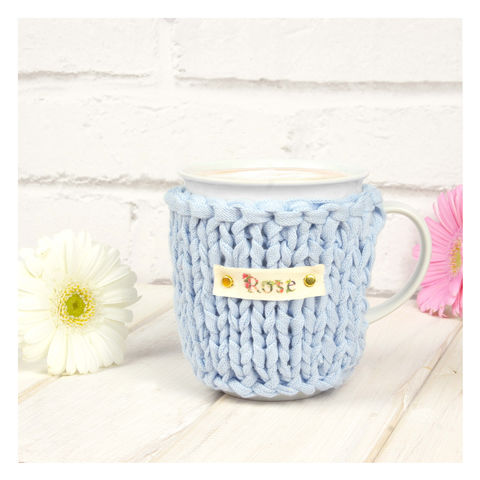Personalised,Pastel,Chunky,Mug,Cosy,-,Blue,Personalised Mug Cosy, Knitted, Made in Britain, Mug and Knitted Cosy - Pastel Mug Cosy - White China Mug - Easter Mug Cozy - Housewarming Gift - Tea Accessory - Chunky Knit Cosy