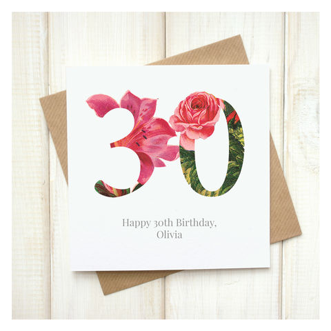 Personalised,Floral,30th,Birthday,Card,Personalised Floral Birthday Age Card  - 30th Birthday Card - card for her - floral birthday card - card for mum - pretty birthday card - 90th birthday card - 18th birthday card - 21st birthday card - 40th birthday card - 50th birthday card - 30th birthda