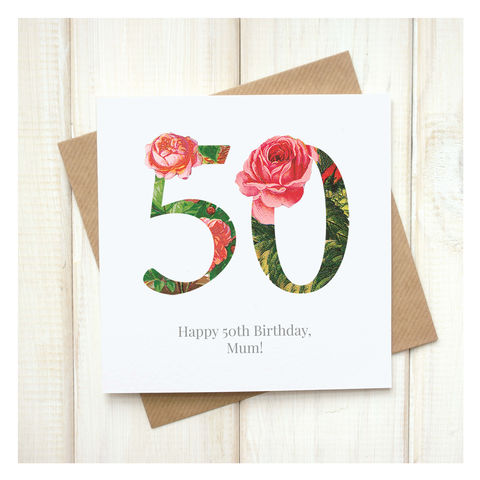 Personalised,Floral,50th,Birthday,Card,Personalised Floral Birthday Age Card  - 50th Birthday Card - card for her - floral birthday card - card for mum - pretty birthday card - 90th birthday card - 18th birthday card - 21st birthday card - 40th birthday card - 50th birthday card - 30th birthda