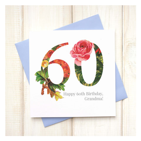 Personalised,Floral,60th,Birthday,Card,Personalised Floral Birthday Age Card  - 60th Birthday Card - card for her - floral birthday card - card for mum - pretty birthday card - 90th birthday card - 18th birthday card - 21st birthday card - 40th birthday card - 50th birthday card - 30th birthda