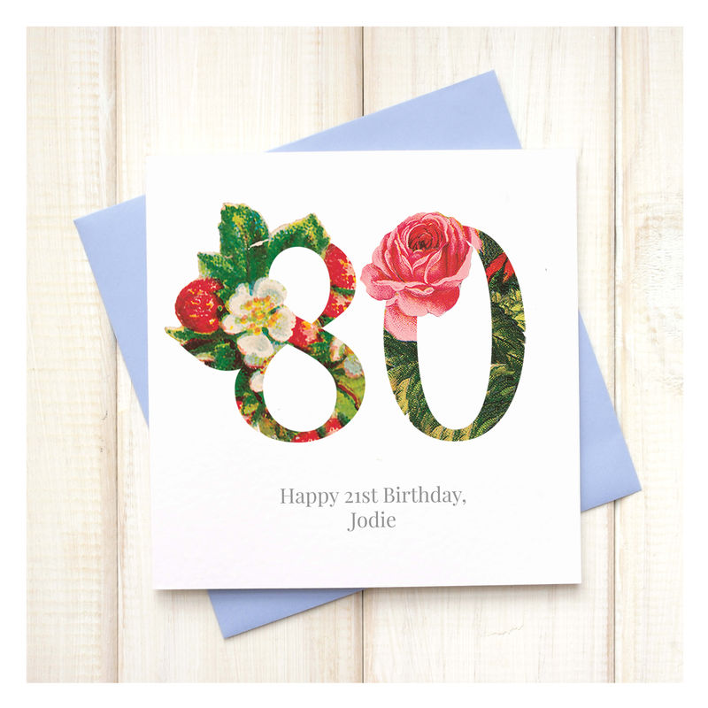Personalised Floral 80th Birthday Card Chi Chi Moi – 80 Birthday Card