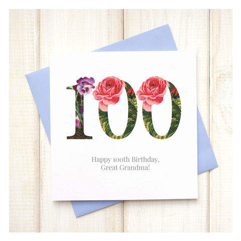 Personalised,100th,Floral,Birthday,Card,Personalised Floral Birthday Age Card  - 100th Birthday Card - card for her - floral birthday card - card for mum - pretty birthday card - 100th birthday card - 18th birthday card - 21st birthday card - 40th birthday card - 50th birthday card - 30th birth