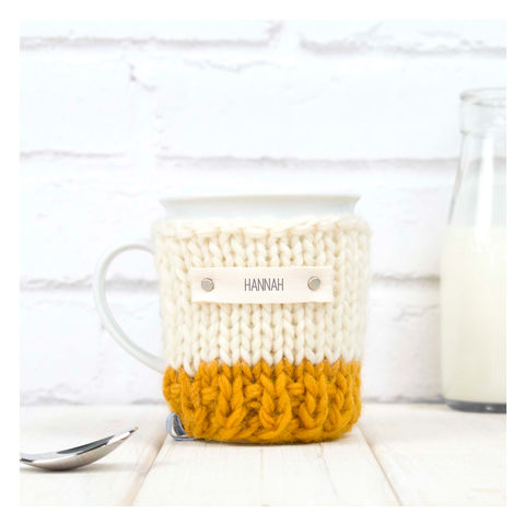 Personalised,Colour,Block,Cosy,And,Mug,-,Mustard,Personalised Mug Cosy, Knitted, Made in Britain, Mug and Knitted Cosy - Yellow and Cream Mug Cosy - Chunky Knit Cosy - Birthday Gift - Favourite Mug - Graduation Gift - Get Well Soon Gift