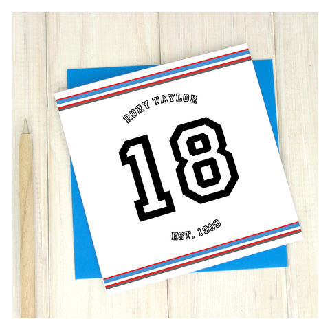 Personalised,18th,Sport,Birthday,Age,Card,Personalised Sport Birthday Age Card  - 18th Birthday Card - card for him- Sport birthday card - card for her - birthday card - 16th birthday card - 18th birthday card - 21st birthday card - 40th birthday card - 50th birthday card